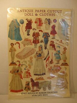 Vintage Antique Paper Cutout Dolls & Clothes, Repro Late 1800's Styles Merrimack