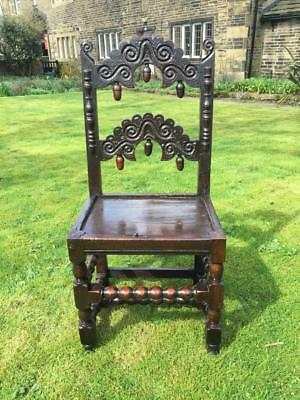 An Antique 17th Century & Later Carved Oak Yorkshire / Derbyshire Backstool