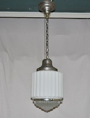 Stunning Art Deco Architectural Style 2-Piece Globe Ceiling Light Fixture &  Cap