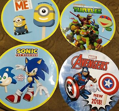4 big Ice Cream Truck Decals. Minions, Ninja, Sonic, captain America, 23""