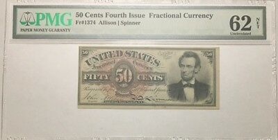 50 Cents Fractional Currency, Fourth Issue, Pmg Uncirculated 63 Net, Fr-1374