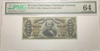 50 Cents Fractional Currency, Third Issue, Pmg Choice Uncirculated 64, Fr-1335