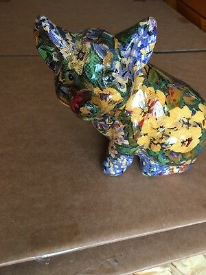 Collectible Vintage Pig Figurine - Ceramic patchwork decoupage