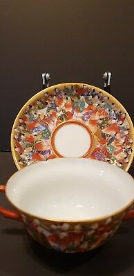 Vintage teacup and saucer Japan two handle