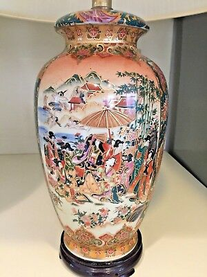 """GORGEOUS! Large Pair of Vintage Chinese/Japanese Porcelain Vase Lamps 24"""" Tall"""