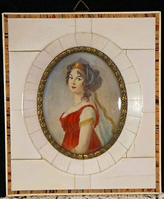 """Antique Miniature Portrait Painting Signed Lady Scarf """"Piano Keys"""" Inlays Frame"""