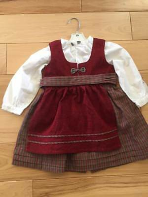 """9-12 mo EU 80 NORWEGIAN COTTON CHILD`S BUNAD FROM NORWAY 19"""" long + let out"""