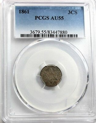 "1861 3-CENT ""SILVER"",  PCGS AU 55, Tom's Coins-Currency"