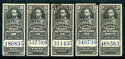 Weeda Canada FWM61/68 MNH 1930 Federal Weights & Measures revenues, faults