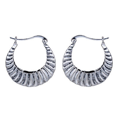 Retro Vintage Antique Silver Carved Wave Hoop Earrings For Women New