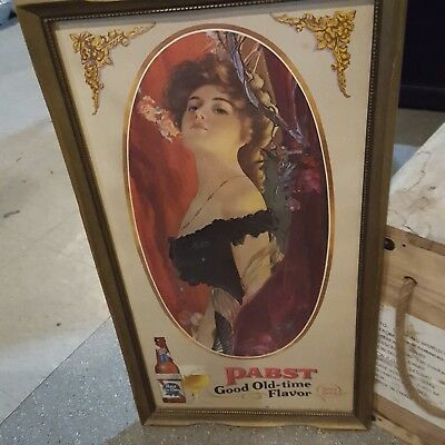 Pabst Blue Ribbon Good Old-Time Flavor Since 1844 beautiful lady portrait sign