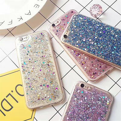 For iPhone 6s 7 8 Plus X Luxury Bling Glitter Slim Soft Silicone Back Case Cover