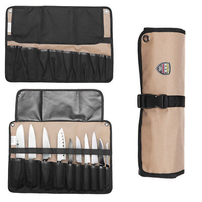 Knife Storage Bag Carrying Case Chef Zippered Pocket Polyester
