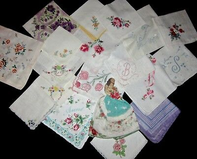 Vtg Lot Hanky Handkerchief Large Lot Initial Embroidery Aunt Lady d'Orly Paris
