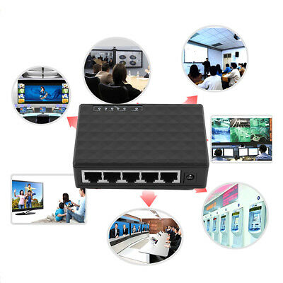 LK_ 5 Port 100/1000 Mbps Desktop Ethernet Network Power Adapter USB Switch Hub
