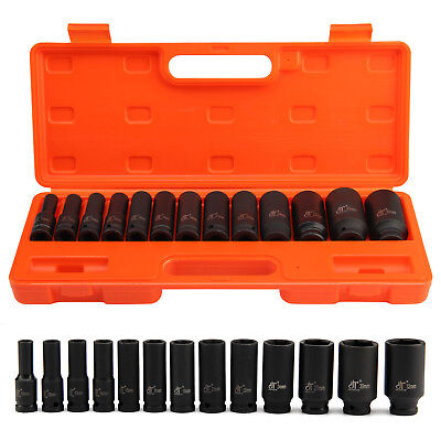 "13pc Impact Socket 1/2"" inch Deep Tool Set 10-32mm Metric Garage Workshop kit"