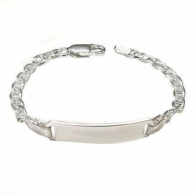 5 Inch, 925 Sterling Silver Engravable Baby Name ID Bracelet with Gucci Chain