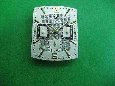 Bulova 98C109 Parts Dial / Hands Men's Watch 3 Register White & Crystal Dial