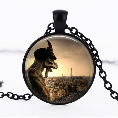Paris Gargoyle Notre Dame Black Glass Cabochon Necklace chain Pendant Wholesale