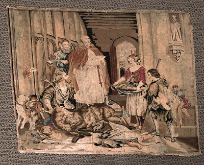 19th Century French Petit Point with a Cardinal and Hunters Kill