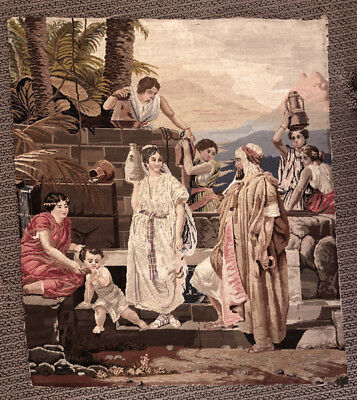19th Century French Petit Point with a Mid Eastern family