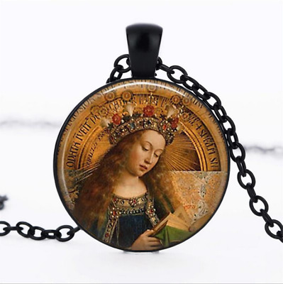 BLESSED VIRGIN MARY Black Glass Cabochon Necklace chain Pendant Wholesale