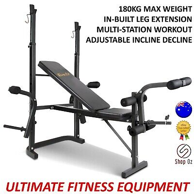 New ADJUSTABLE WEIGHT BENCH PRESS HOME GYM Set Multi Station Exercise Equipment