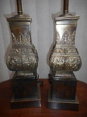 A Pair Of Chinese Archaic Bronze Inspired Lamps By Frederick Cooper Co Chicago