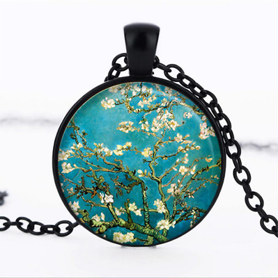 Almond Branch in Bloom Black Glass Cabochon Necklace chain Pendant Wholesale