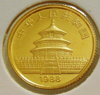 China Authentic 1988 Gold 10th 24ct Panda & The Temple Heaven 10 Yuan Coin