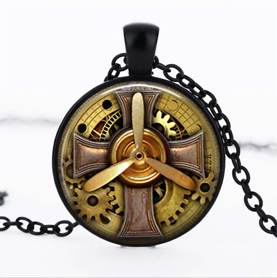 Steampunk Aviator Black Glass Cabochon Necklace chain Pendant Wholesale