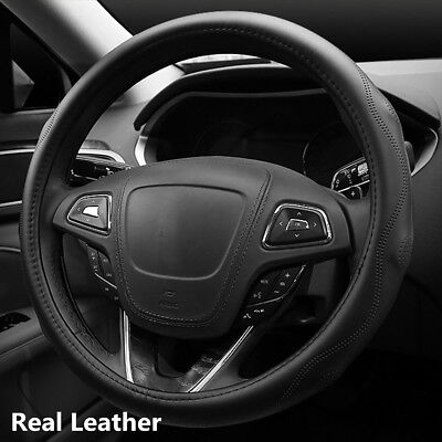 Bump Massage Sporty Wave Pattern Real Leather Car Steering Wheel Protector Cover