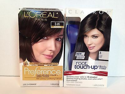 L'oreal Paris Superior Preference #3 Soft Black + Box Of Clairol Root Touch-Up