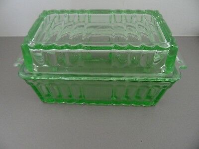 Art Deco Vintage Green Depression Glass Butter Dish with Lid
