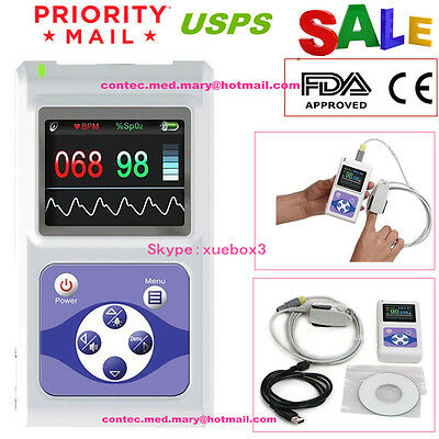 CE FDA CONTEC Hand-Held LCD Finger pulse Oximeter SpO2 PR OXIMETRY+software