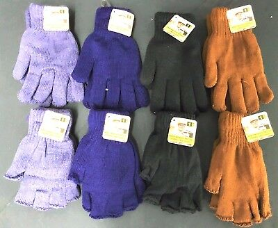 Mens Knitted Fingerless Gloves-Extra Thick Brushed Inner Warm Soft Thermal Lined