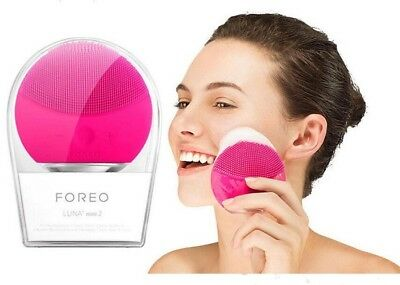 Authentic Foreo Luna Mini 2 Cleansing Brush - Blue, Black, Fuchsia, Pearl Pink
