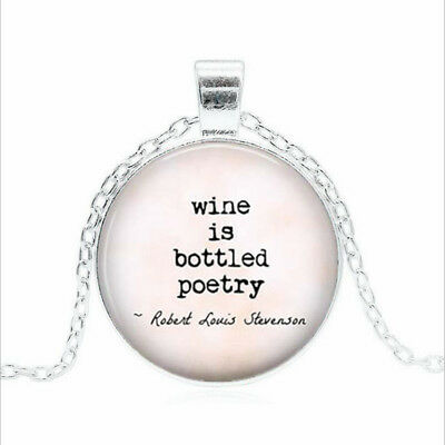 wine is bottled poetry Tibet silver Glass dome Necklace chain Pendant Wholesale