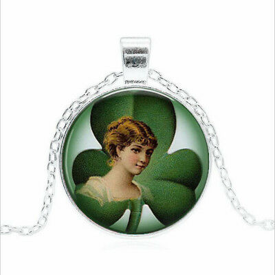 Irish Lass with Clover Tibet silver Glass dome Necklace chain Pendant Wholesale