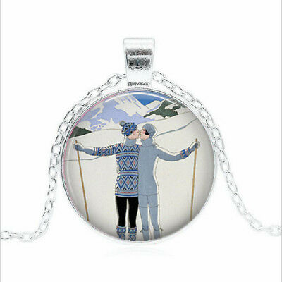 Skiing Lovers Tibet silver Glass dome Necklace chain Pendant Wholesale
