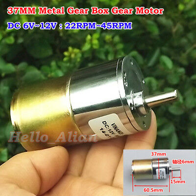 37MM DC 6V~12V 45RPM Slow Speed Mini Full Metal GearBox Gear Motor Large Torque