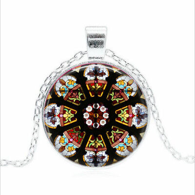 Stained Glass Image Tibet silver Glass dome Necklace chain Pendant Wholesale