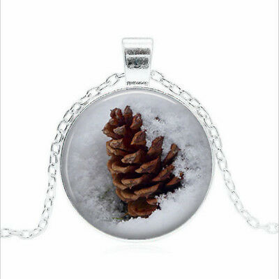 Pine Cone in Snow Tibet silver Glass dome Necklace chain Pendant Wholesale