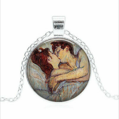 In Bed The Kiss Tibet silver Glass dome Necklace chain Pendant Wholesale