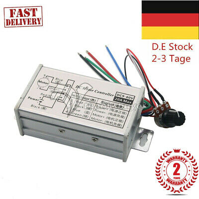 24V 12V Max 20A PWM DC Motor Stepless Variable Speed Controller Switch EU