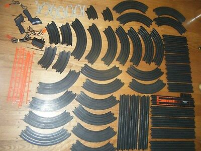AURORA AFX slot car pieces incl.43 tracks banked curve straights controllers