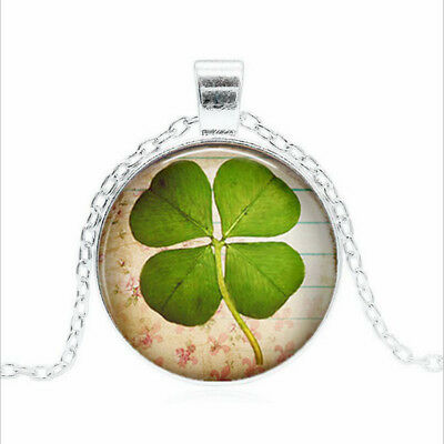 FOUR Leaf CLOVER Tibet silver Glass dome Necklace chain Pendant Wholesale