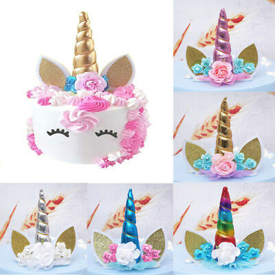 Unicorn Glitter Cake Topper Happy Birthday Candle Party Supplies Decoration DIY