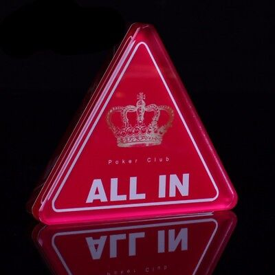 ALL IN Button Acrylic Red Crown Crystal Triangle Dealer Poker Club Transparent