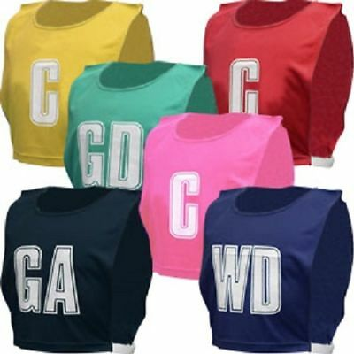 NEW Team Netball Bibs Position Sports Lettered Bib Full Set Of 7 (5+ Colours)NEW